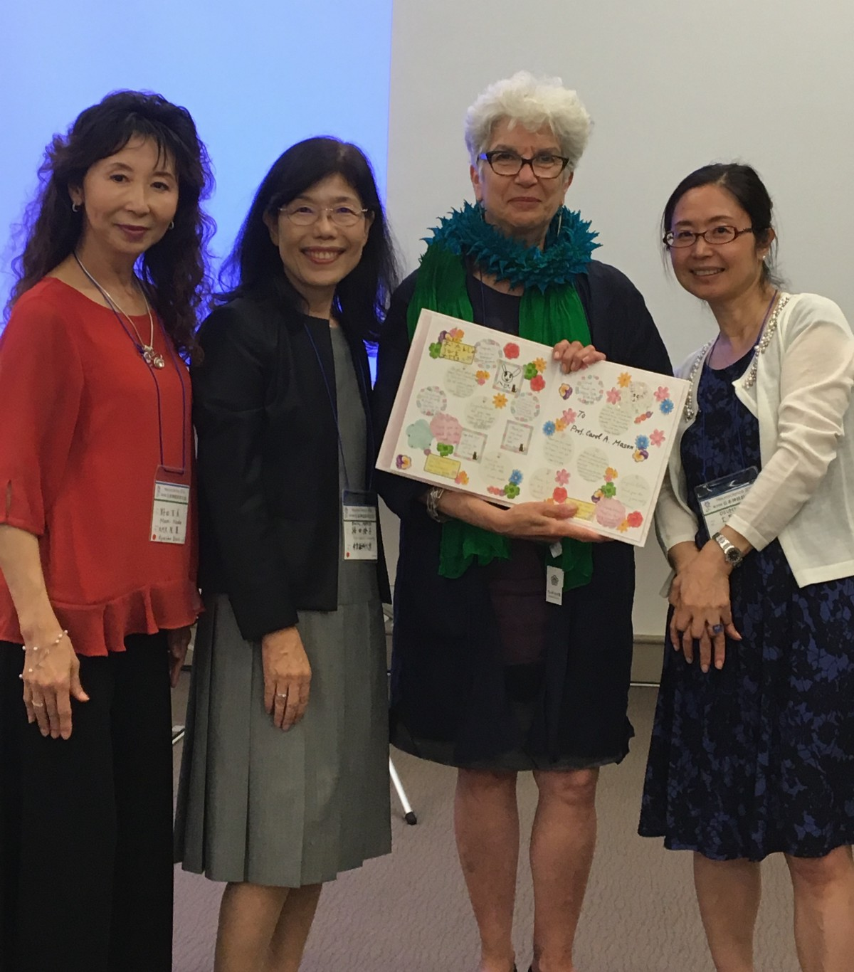 The conveners of the gender equality seminar at the Japan Neuroscience Society meeting on July 20, 2016: Dr. Mami Noda (Kyushu University), Prof. Sumiko Mochida (Tokyo Medical University), Prof. Noriko Osumi (Tohoku University) with speaker Prof. Carol Mason (Columbia University)