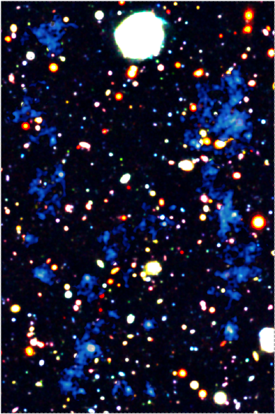 Map of gas filaments seen by the telescope