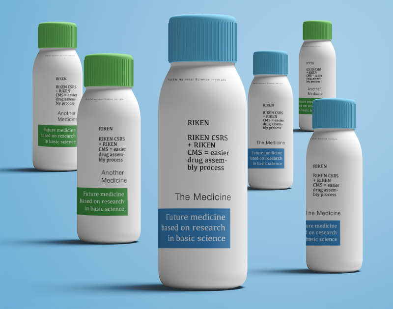 mock up bottles of RIKEN medicine