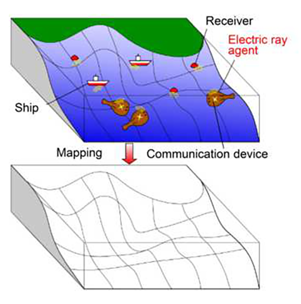 ocean mapping with electric rays concept