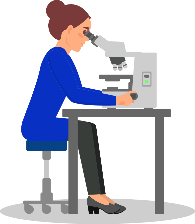 female researcher working